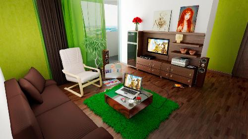 комната в салатовых обоях.фото
