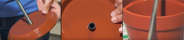 Подготовка горшков и подставок для мини-фонтана