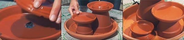 Устанавливаем горшки и подставки для мини-фонтана